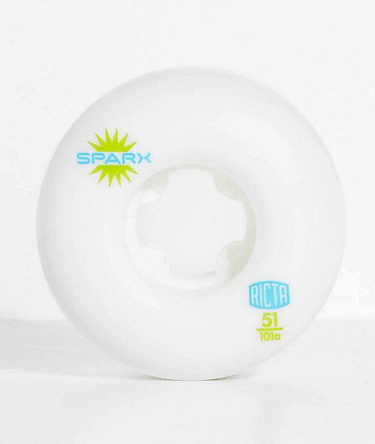 Ricta Sparx 51mm 101a White Skateboard Wheels