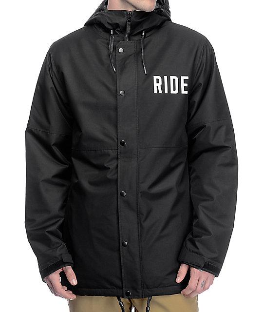 Ride x Sketchy Tank Burnout Black 10K Snowboard Coaches Jacket