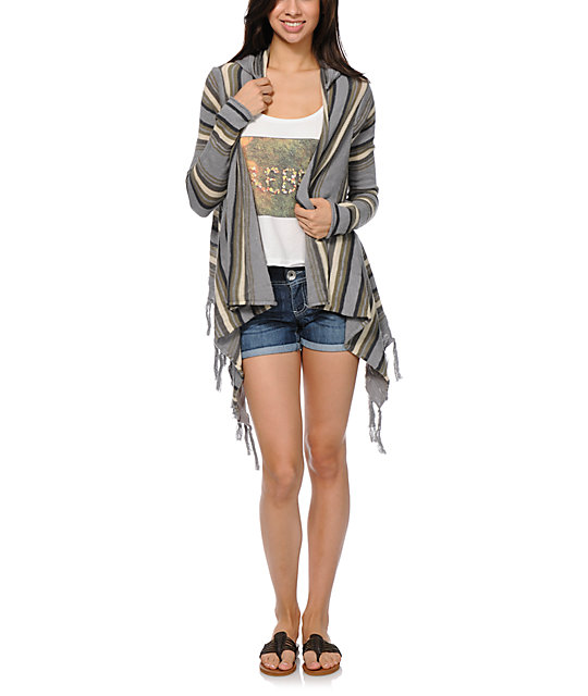 Rip Curl Driftwood Grey Hooded Cardigan Sweater