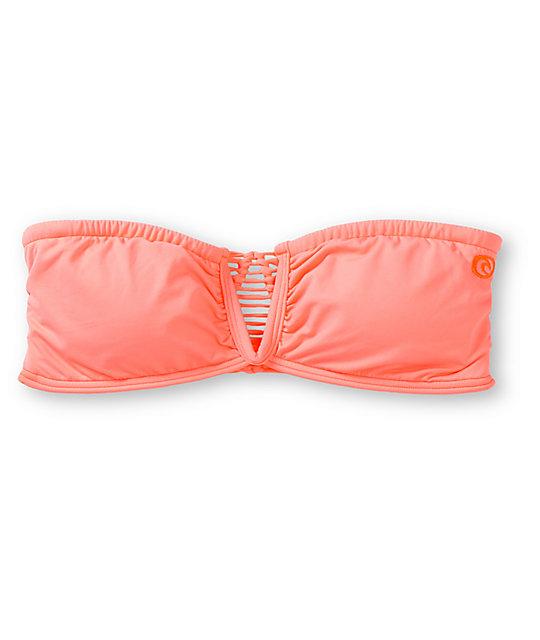 Rip Curl Safari Sun Neon Coral Bandeau Bikini Top