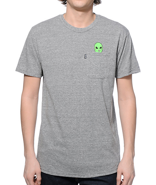 RipNDip Lord Alien Pocket Heather Grey T-Shirt