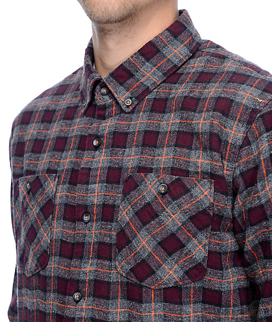 Roark Blue Buck Burgundy Flannel Shirt