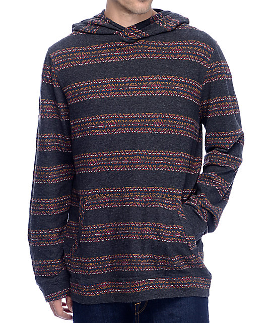 Roark Longhouse Knit Black Hooded Long Sleeve T-Shirt