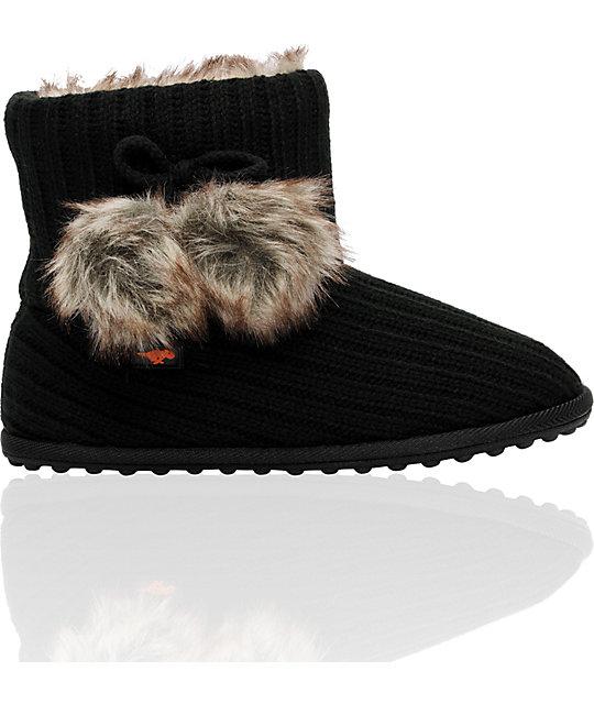 Rocket Dog Snowflake Black Slippers