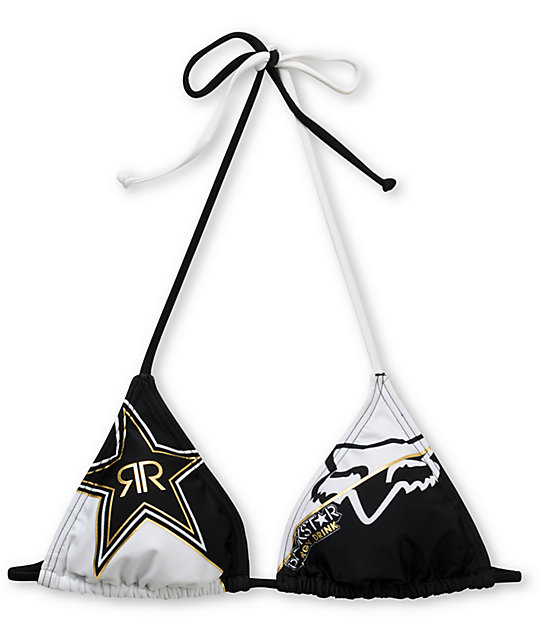 Rockstar x Fox Goldie Black & White Triangle Bikini Top