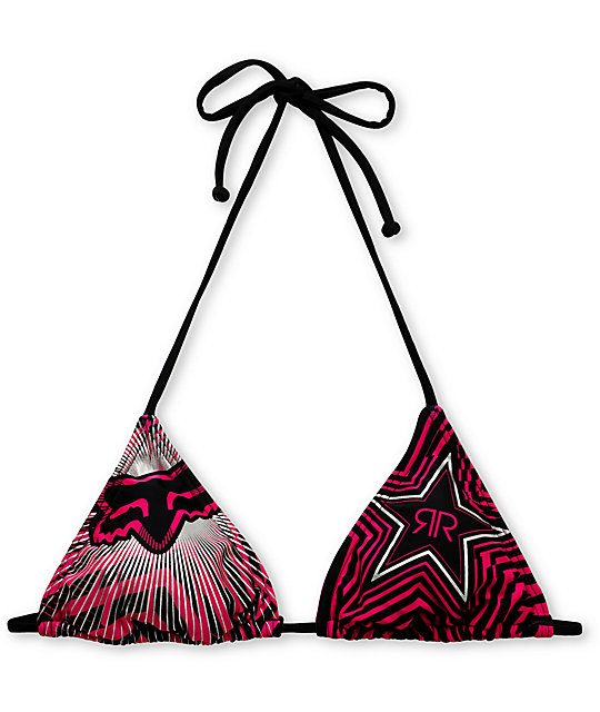 Rockstar x Fox Spike Vortex Black & Pink Triangle Bikini Top