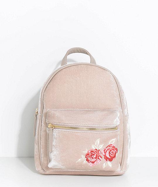 Rose Embroidered Taupe Velvet Mini Backpack
