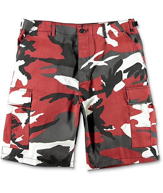 BDU Red Camo Cargo Shorts