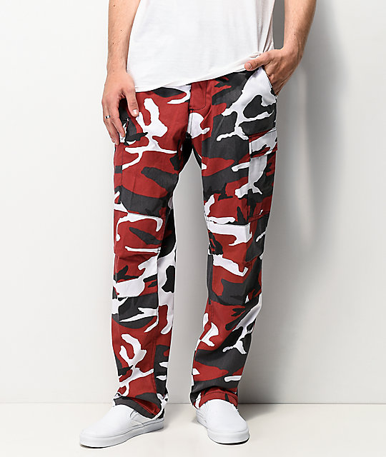 Red Camouflage BDU Cargo Pants. 6 pockets. Reinforced seat and knees. Adjustable waist tabs. Men's BDU Pants in Red Camo.