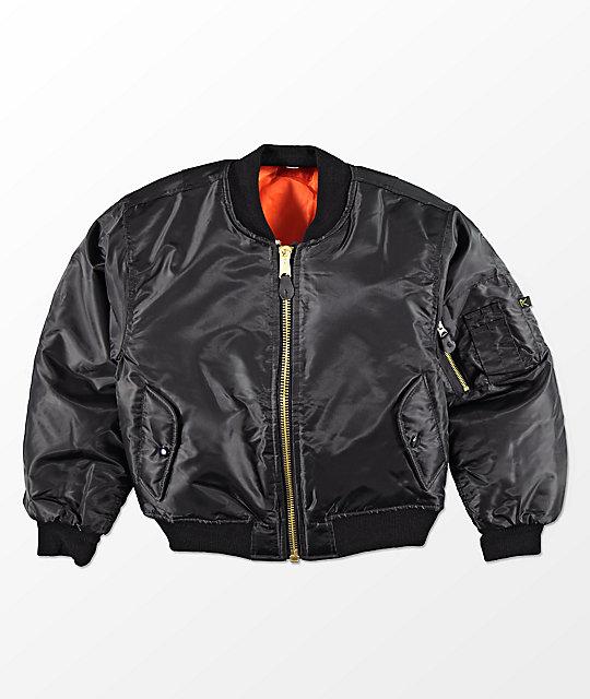 Rothco Boys MA-1 Black & Blaze Orange Reversible Bomber Jacket ...