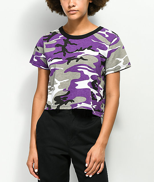 Rothco Violet Camo Cropped Shirt by Rothco