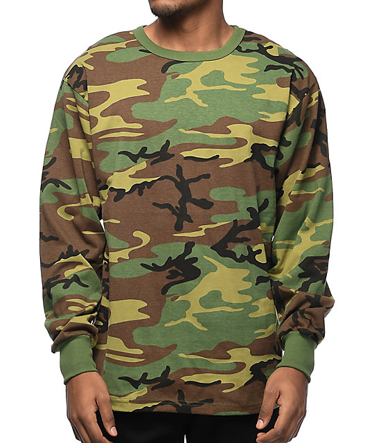 Woodland Camo Long Sleeve T-Shirt