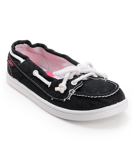 Roxy Ahoy II Black Washed Canvas Slip On Shoe
