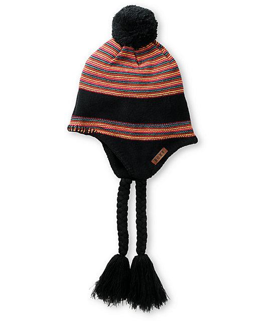 Roxy Alpine Black & Stripe Earflap Beanie