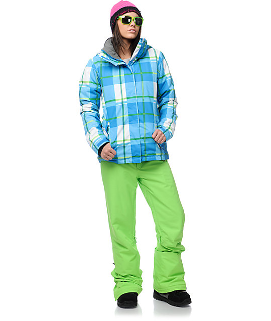 Roxy Aster Blue & Green Plaid Insulated Snowboard Jacket