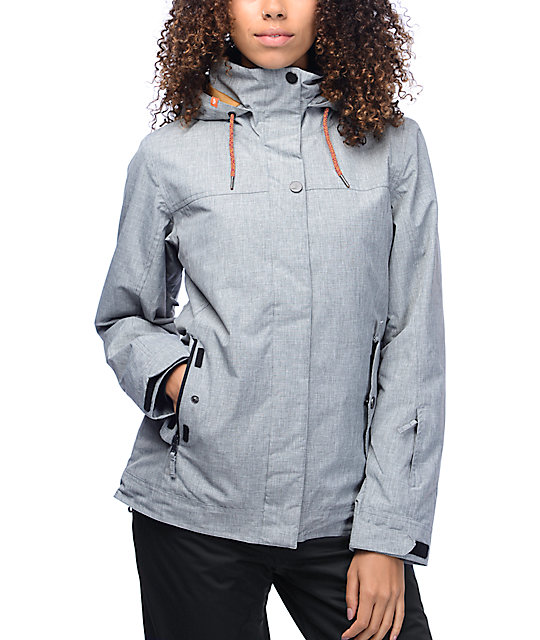 Roxy Billie Mid Heather Grey 10K Snowboard Jacket