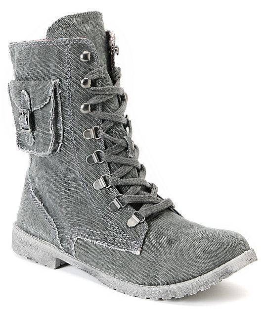 Roxy Black Wash Canvas Ponderosa Boots