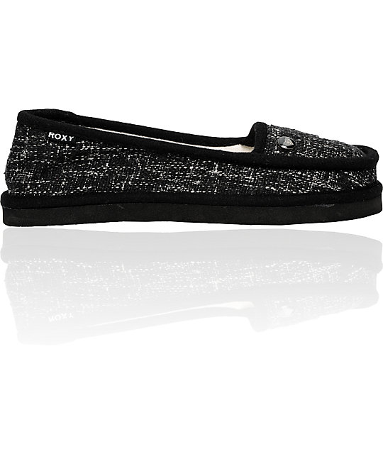 Roxy Del Mar Black Tweed Slippers