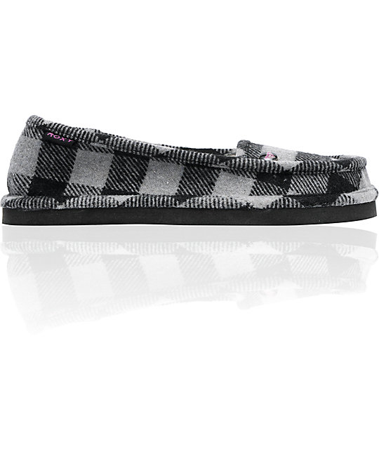Roxy Del Mar Grey & Black Plaid Slippers