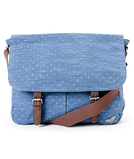 Roxy Flutter Blue Dot Canvas Messenger Bag