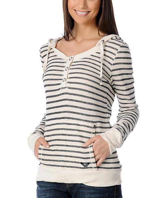 Roxy Fun In The Sun Cream & Black Striped Hoodie