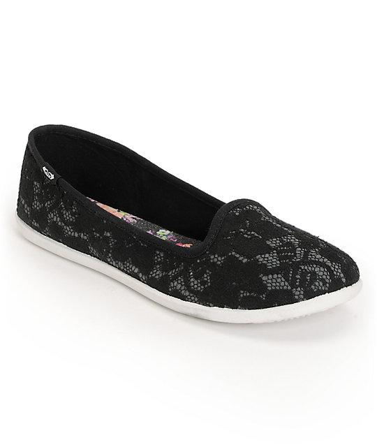 Roxy Hailey Black Lace Slip On Shoes