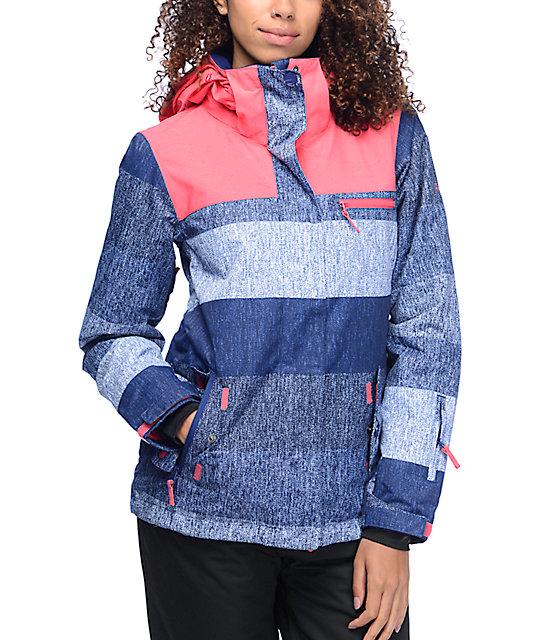 Roxy Jetty Huge Stripe Blue & Pink 10K Snowboard Jacket