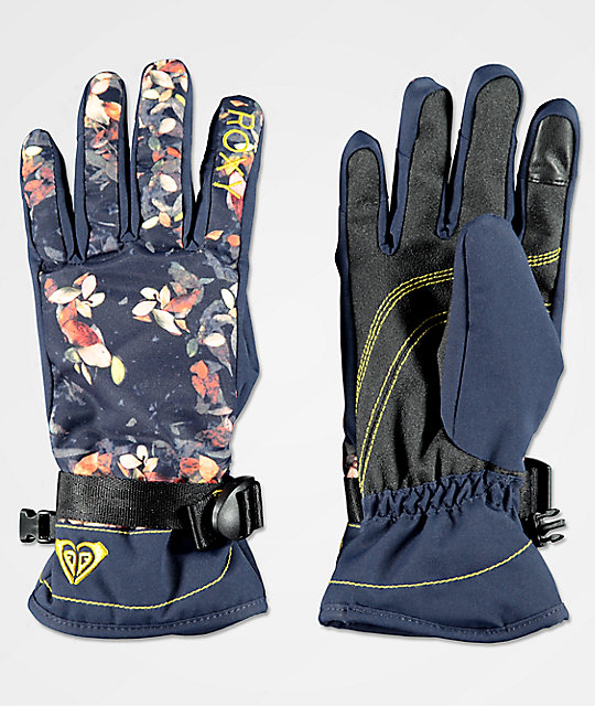 Roxy Jetty Peacoat Waterleaf Snowboard Gloves