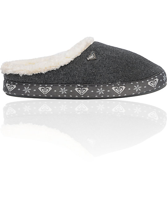 Roxy Latte Grey Wool & Fur Slippers