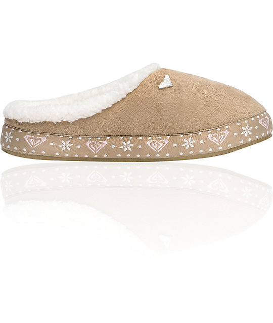 Roxy Latte Tan Suede & Fur Slippers