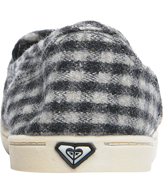 Roxy Lido Black & Grey Wool Checkered Slippers