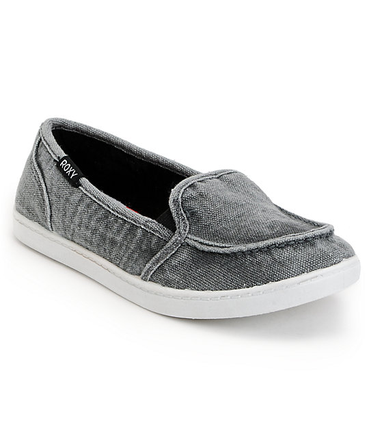 Roxy Lido Black Enzyme Wash Slip On Shoes