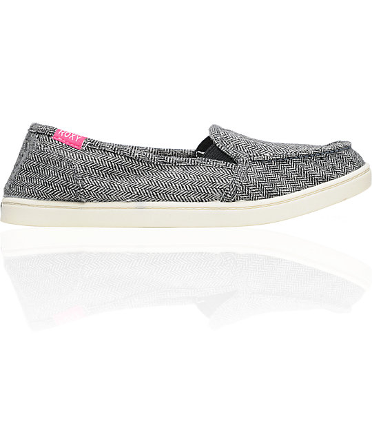 Roxy Lido Black Wool Herringbone Slippers