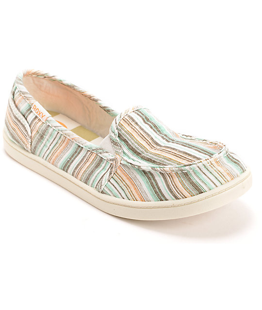 Roxy Lido II Beige & Blue Slip On Shoes