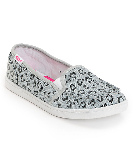 Roxy Lido II Grey Leopard Print Slip On Shoes
