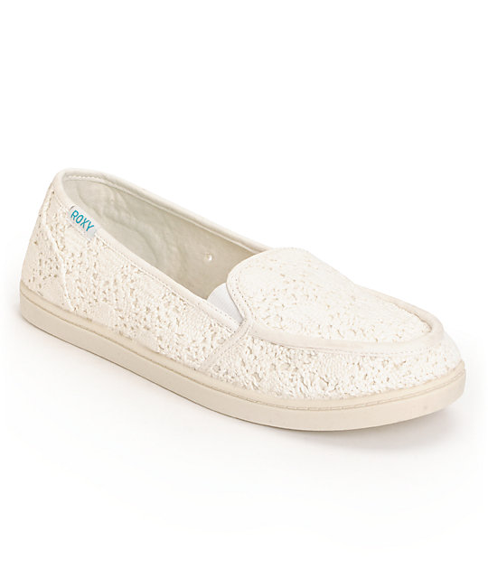 Roxy Lido II Off-White Crochet Slip On Shoes