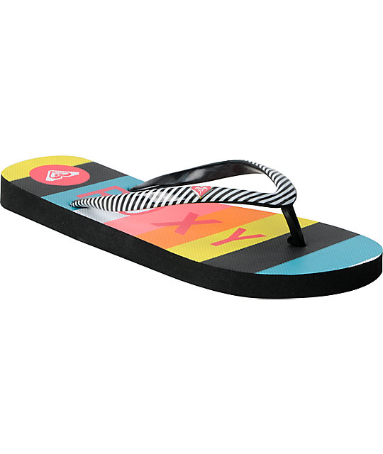 Roxy Mimosa 3 Black & White Pinstripe Sandals