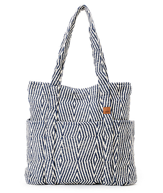 Roxy No Worries Navy Woven Tote Bag