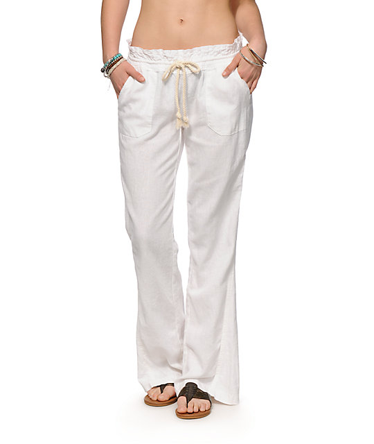 Roxy Oceanside White Beach Pants at Zumiez : PDP