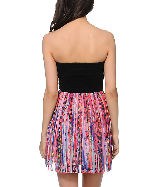 Roxy One Day Soon Pleated Strapless Dress