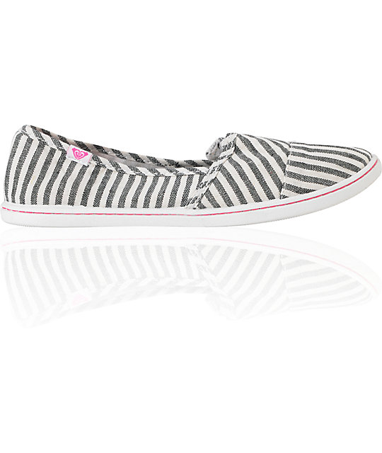 Roxy Pier Black & White Stripe Shoes