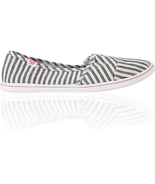 Roxy Pier Black & White Stripe Shoes