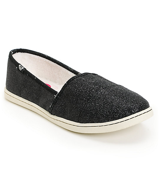 Roxy Pier Fur Black Glitter Slip On Shoes