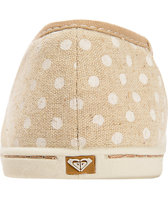 Roxy Pier II Tan & White Polka Dot Slip On Shoes