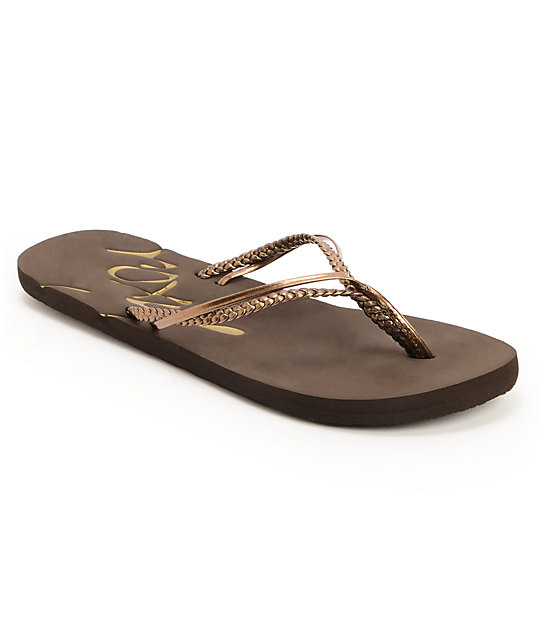 Roxy Rio Bronze & Brown Flip Flop Sandals