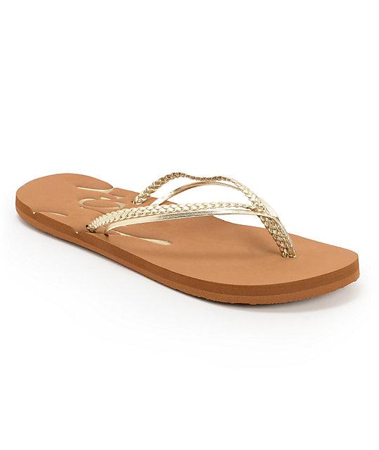 Roxy Rio II Gold & Tan Flip Flops