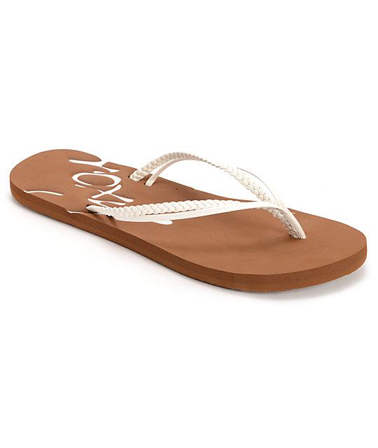 Roxy Rio II White & Tan Sandals