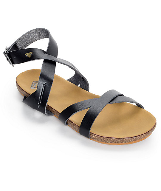 Roxy Safi Black Cross Straps Sandals