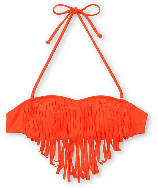 Roxy Surf Essentials Pop Orange Fringe Bandeau Bikini Top
