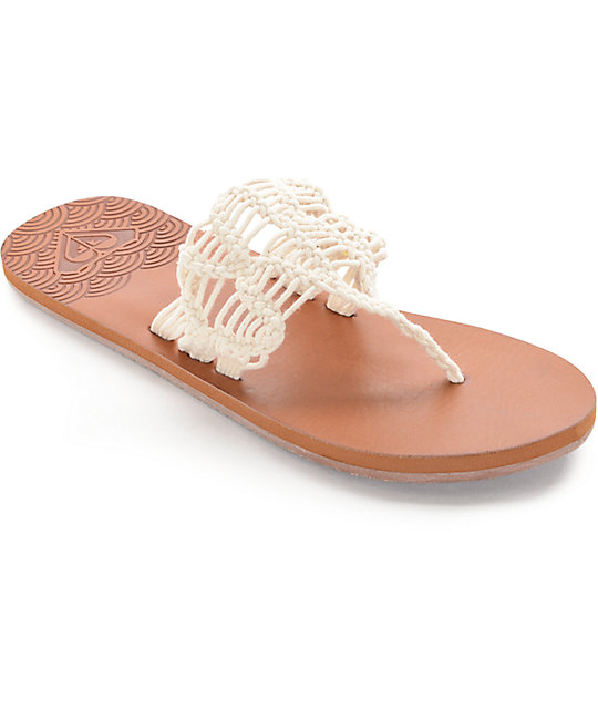 Roxy Surya White Crochet Sandals